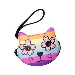 NWT Betsey Johnson Rainbow Cat Coin Purse